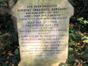 A weathered headstone at Highgate Cemetery