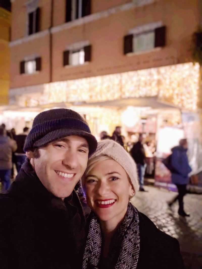 Author with wife at the Piazza San Cosimato