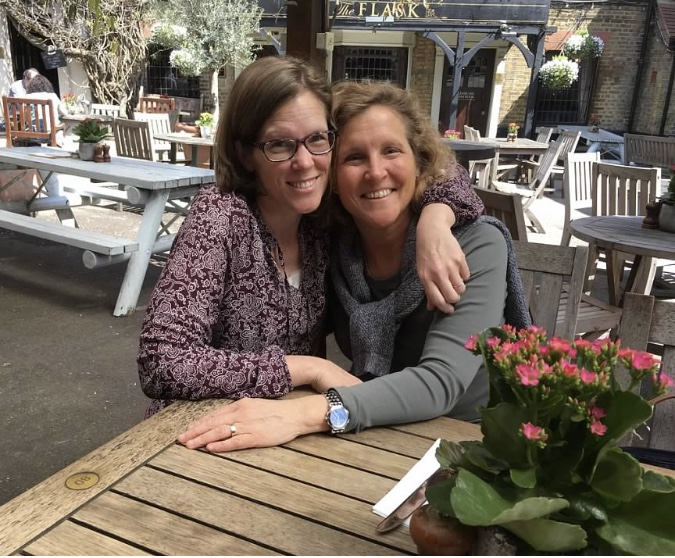 Author with her sister at The Flask in Highgate Village